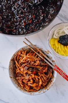 Black Bean Noodles is similar to Beijing Zha Jiang Mian. - Black Bean Noodles is similar to Beijing Zha Jiang Mian. Korean Black Bean Noodles, Korean Noodles, Black Noodles, Korean Dishes, Noodle Recipes, Noodle Soups, Asian Cooking, Aesthetic Food, Aesthetic Girl