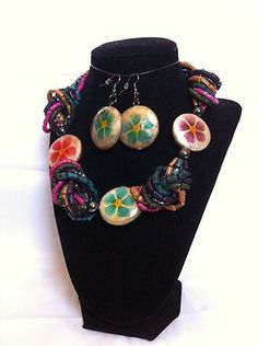 Multi Color Jewerly Glass and Wooden Beads Necklace