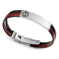 Italian Leather Medical Alert Bracelet For Men And Women