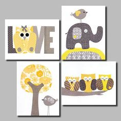 Yellow and Grey Nursery Artwork Yellow Gray Nursery Art Baby Nursery Decor Nursery Wall Art kids decor bird owl Set of 3 Prints on Etsy, $56.00