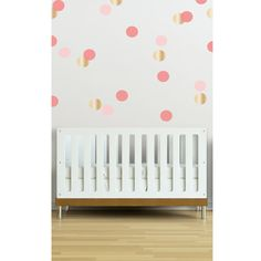 Dot Wall Decal in Coral, Pink and Gold - perfect for a nursery accent wall! #PNshop #nursery