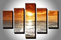 5 Piece Hot Sell Beauty Sunset Sea Side Modern Home Wall Decor Canvas Picture Art HD Print Painting Unframed