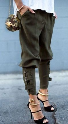 Olive Harem Pants & Wrap Around Snake Bangles ❤︎ Cool and chic and fun for weekend around the neighborhood