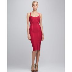 Herve Leger Women's Thin-Strap Bandage Dress (49,830 INR) ❤ liked on Polyvore featuring dresses, herve leger dress, metallic bandage dress, thin dress, red bandage dress and pencil dress