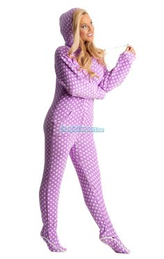 Chenille Purple Polka Dots Pajamas.  These one piece pajamas are soft and warm.  They feature hoodie, thumbholes and are also footed.  They will keep you warm and cozy the entire year.  Get yours today. $49.99