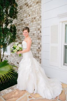 Maura & Michael | The Island House | The Wedding Row  Our #southernbride simply sparkles in her custom #Tannergown in #ivory by #ModernTrousseau.