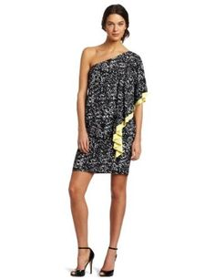 new trendy Tiana B Women's Printed One Shoulder Dress With Color Pop $39.36