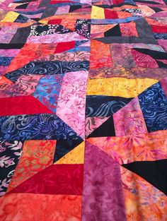 Ready to ship Bali batik patchwork Quilt Red and by ChilliPeppa