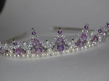 Handmade Tiara with Alice metal headband, acrylic beads, faux pearls and glass beads. This is not for 3 years old and under.