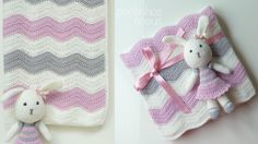 Pink waves baby blanket- crochet a doll along with blanket as a gift