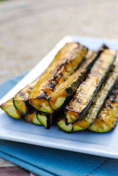 Miso-Glazed Grilled Zucchini - Use this 2 minute, 4 ingredient miso glaze on anything grilled this summer!