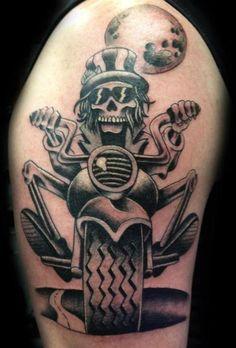 Cool skull biker tattoo