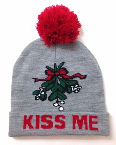 KISS ME MISTLETOE POM BEANIE Christmas Holiday Funny Winter Knit Hat Men Women   ETC cf843e86cd1e