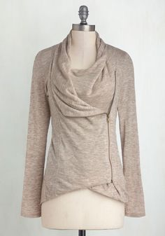 Airport Greeting Cardigan in Oatmeal - Jersey, Cream, Solid, Casual, Long Sleeve, Exposed zipper, Pockets, Cowl, Variation, Travel, Basic, Best Seller, Fall, Winter, White, Long Sleeve, Knit, Spring, Gals, Maternity, Mid-length, Athletic, Top Rated