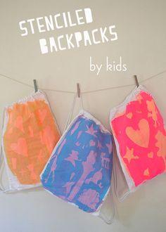 Stenciled Backpacks