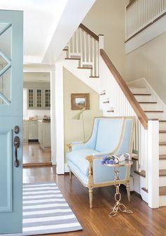 Benjamin Moore Affinity - Hallway Walls: jute AF-80, Aura, Eggshell | Door: exhale AF-515, Aura Exterior, Semi-Gloss | Kitchen Cabinets: pashmina AF-100, Regal Select, Eggshell