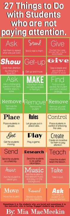 27 things to do with students who are not paying attention.  Great ideas!