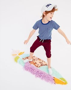 MAY Style Guide: J.Crew boys pocket tee in cerulean cove stripe, white Vans slip-on sneakers and cooper pull-on in side stripe sweatshort. Little Boy Outfits, Little Boy Fashion, Kids Fashion Boy, Little Boys, Kids Outfits, Kids Girls, Baby Kids, Kid Poses, Vans Slip On
