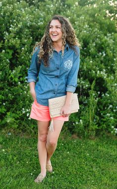 "Urban Expressions ""Kennedy"" beige laser-cut clutch // Monogrammed chambray button-down - AmyAnneApparel on Easy // Pink shorts - JCrew // Jack Rogers Cork Georgica sandals"