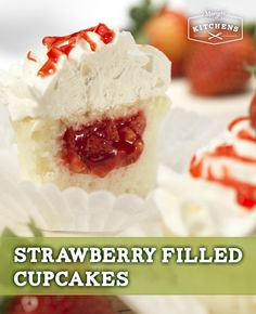 Strawberry Filled Cupcakes: These scrumptious cupcakes come with a surprise in the middle: a sweet mix of chopped strawberries and Marzetti Glaze for Strawberries.