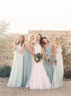 Seaglass + dusty shale bridedmaid dresses