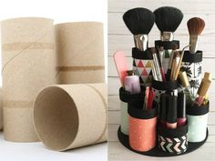 If you are a makeup lover and you have already made a good amount of product . - If you are a makeup lover and you have already made a good amount of product … – # - Diy Makeup Organizer, Make Up Organizer, Diy Makeup Storage, Makeup Organization, Diy Para A Casa, Diy Rangement, Makeup Brush Holders, Cardboard Crafts, Cardboard Letters