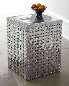 """""""Woven Square"""" Side Table in recycled aluminum at Horchow.  At 18"""" tall, a little too small to be considered a side table.  Great look, though, if in a larger size."""