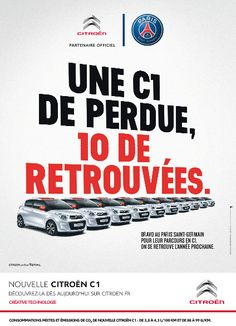 Publicité: Citroën surfe sur la défaite du PSG en Ligue des Champions Citroen C1, Sports Advertising, Paris Saint Germain, Ads, Images, Football, Surfing, Posters, Soccer