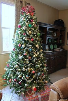 Christmas tree with Vintage Shiny Brite ornaments, Petticoat Junktion