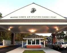 Located only 20 miles from some of the Atlantic's most beautiful beaches, Marine Corps Air Staion (MCAS) Cherry Point is about 90 miles west-southwest of Cape Hatteras. Description from usmilitary.about.com. I searched for this on bing.com/images