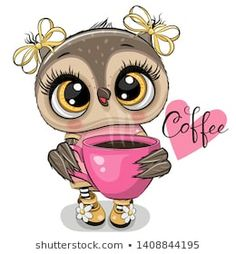 Cartoon owl with pink Cup of coffee. Cute Cartoon owl with pink Cup of coffee royalty free illustration Cartoon Cartoon, Cute Owl Cartoon, Coffee Cartoon, Cartoon Owl Drawing, Cartoon Heart, Coffee Art, Coffee Cups, Owl Png, Cartoon Mignon