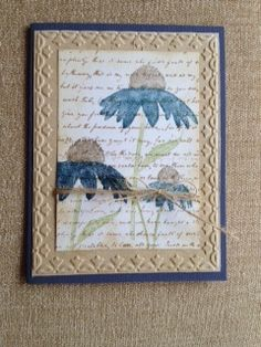 Stampin' Up! Inspired by Nature    Midnight muse, pear pizzazz, soft suede Framed tulip embossing folder Background: Inkadinkado script