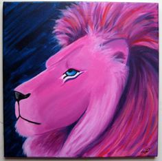 pink acrylic lion painting