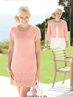 Summer lace dress knitting pattern by Sirdar: get the pattern at LaughingHens.com Like the jacket