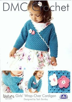Girls Wrap-Over Cardigan Crochet Pattern in DMC Natura yarn. For sale at PatternaliaVintage.