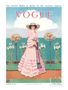 A Southern belle, complete with ruffled pink dress, fishnet gloves, handbag, and straw hat, pauses in the midst of a garden stroll. She stands in front of lilies and hydrangeas. Mrs. Newell Tilton's warm, sunny illustration appeared on the January 15, 1912, cover of Vogue.