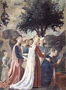 The Queen of Sheba venerates the wood from which the Cross will be made (fresco by Piero della Francesca in San Francesco, Arezzo).