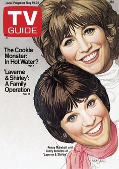 TV Guide May 19, 1979 - Penny Marshall and Cindy Williams of Laverne and Shirley. Illustration by Richard Amsel.