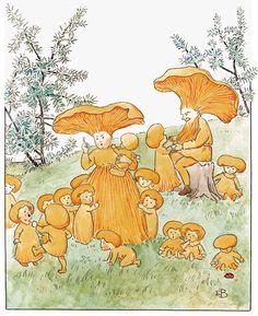Följ årstidsväxlingarna i ny pek- och konstbok med Elsa Beskows bilder Elsa Beskow, Art And Illustration, Mushroom Art, Fairytale Art, Art Plastique, Beautiful Paintings, Faeries, Cute Art, Les Oeuvres