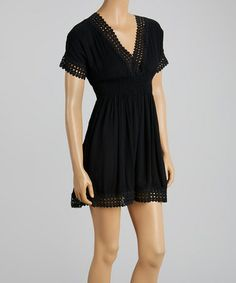 Look at this #zulilyfind! Black Crochet Shirred Empire-Waist Dress - Women #zulilyfinds