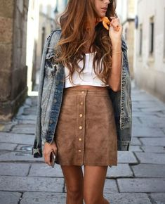 Suede skirt (stellawantstodie) summer 2017 outfits 패션 의류, 옷, Mode Outfits, Fall Outfits, Casual Outfits, Fashion Outfits, Fashion 2018, Womens Fashion, Summer Outfits, Skirt Fashion, Latest Fashion