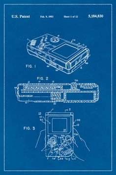 Nintendo controllers patent poster screen print decoration technical gameboy video game system patent print art poster blueprint x malvernweather Gallery