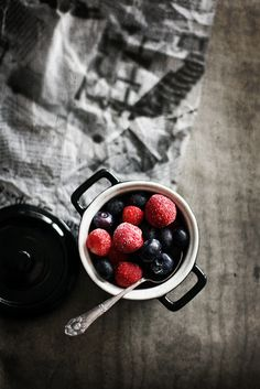 moody, berries, newspaper, from Call Me Cupcake. #photography #food #styling