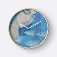 """The Pearl, Mermaid Princess, underwater fantasy art"" Clocks by clipsocallipso | Redbubble"