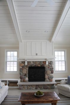 fabulous cottage stone fireplace
