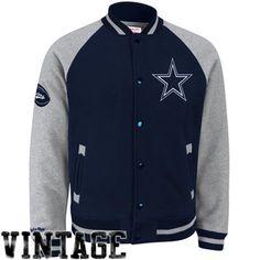 Mitchell & Ness Dallas Cowboys Competitor Full Button Fleece Jacket - Navy Blue/Ash  #fanatics
