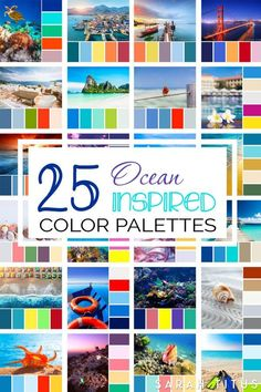 Don't lose your mind trying to figure out what colors go well together. These 25 Ocean Inspired Color Palettes will give all the inspiration you need to get the most beautiful results on all of your projects. Loved by Lazy Girl Official Ocean Color Palette, Summer Color Palettes, Color Schemes Colour Palettes, Ocean Colors, Summer Colors, Bold Colors, Pastel Colors, Color Combinations, Manta Crochet