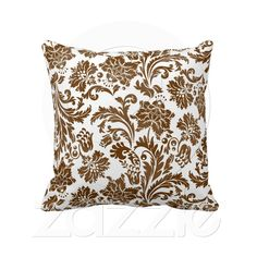 Espresso Damask  Beautiful espresso brown and white damask throw pillow from American MoJo makes for a great way to add a feminine touch to a neutral colored room.