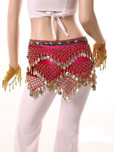 Big Promotion Bellehome 2014 latest Sexy Charming 250 gold coins belly dance hip scarf with Colorful Rhinestone & waist chain bind design (Rose Red)!: Amazon.ca: Health & Personal Care
