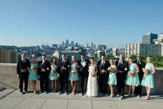 Wedding party roof top picture.